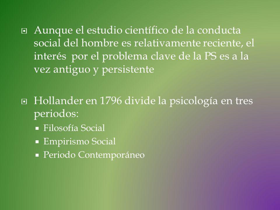 Hollander en 1796 divide la psicología en tres periodos: