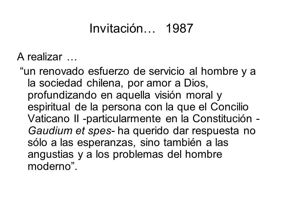 Invitación… 1987 A realizar …