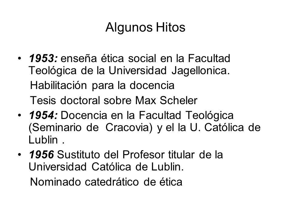Algunos Hitos 1953: enseña ética social en la Facultad Teológica de la Universidad Jagellonica. Habilitación para la docencia