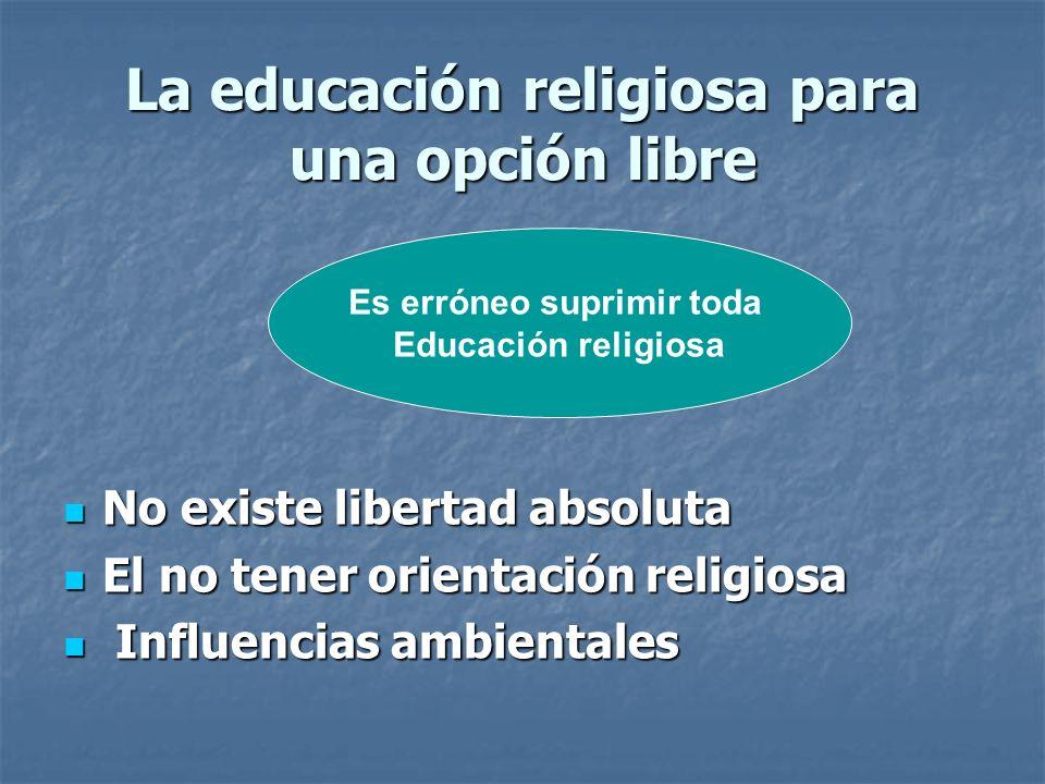 La educación religiosa para una opción libre