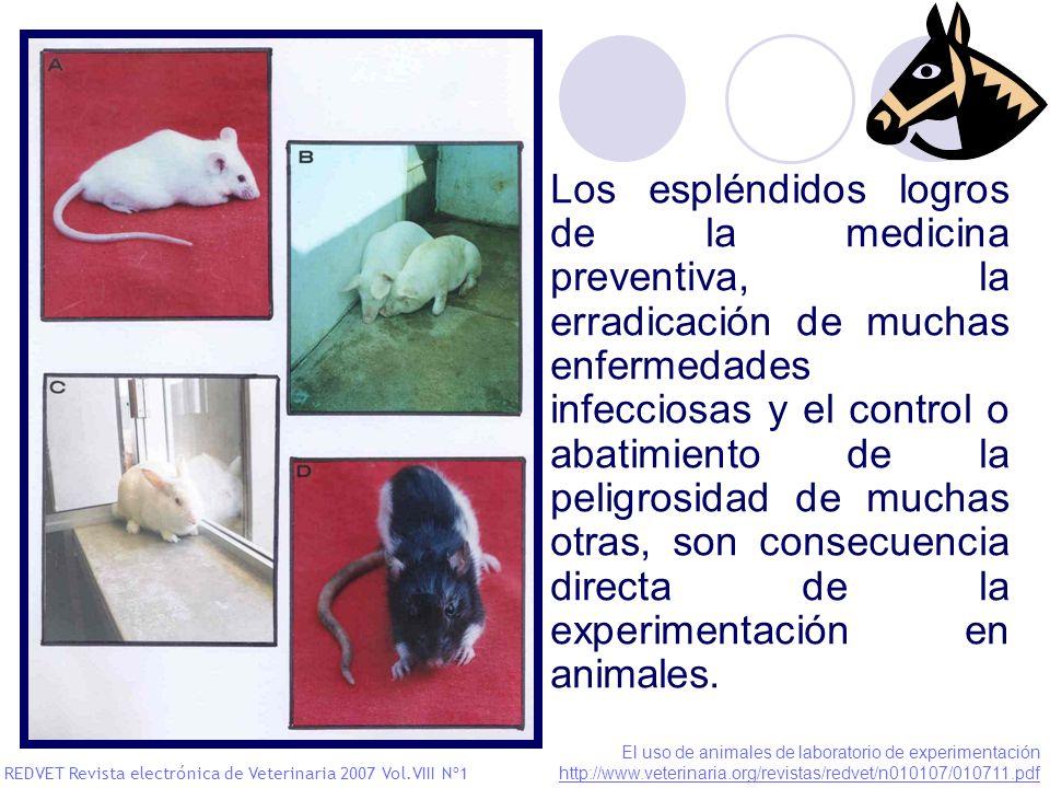 Los espléndidos logros de la medicina preventiva, la erradicación de muchas enfermedades infecciosas y el control o abatimiento de la peligrosidad de muchas otras, son consecuencia directa de la experimentación en animales.