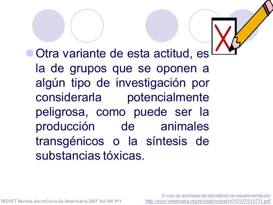 Otra variante de esta actitud, es la de grupos que se oponen a algún tipo de investigación por considerarla potencialmente peligrosa, como puede ser la producción de animales transgénicos o la síntesis de substancias tóxicas.