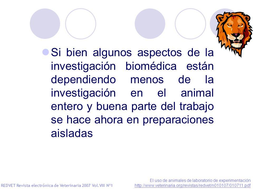 Si bien algunos aspectos de la investigación biomédica están dependiendo menos de la investigación en el animal entero y buena parte del trabajo se hace ahora en preparaciones aisladas