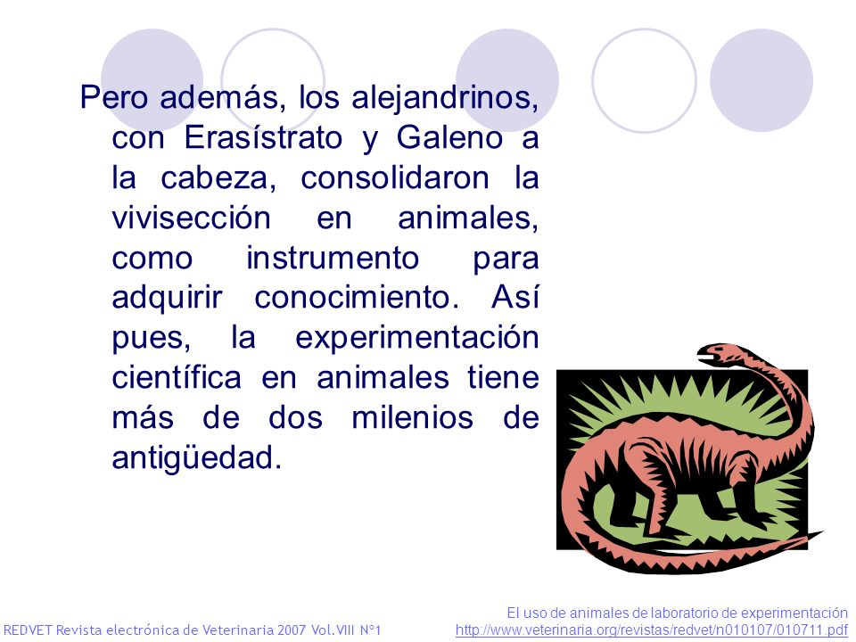 Pero además, los alejandrinos, con Erasístrato y Galeno a la cabeza, consolidaron la vivisección en animales, como instrumento para adquirir conocimiento. Así pues, la experimentación científica en animales tiene más de dos milenios de antigüedad.