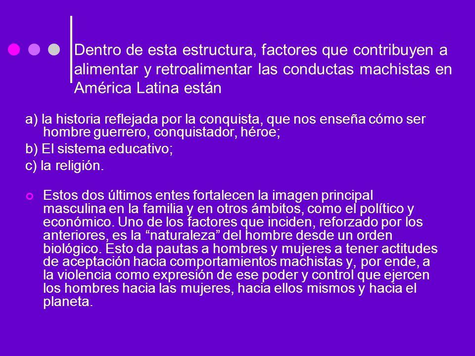 Dentro de esta estructura, factores que contribuyen a alimentar y retroalimentar las conductas machistas en América Latina están