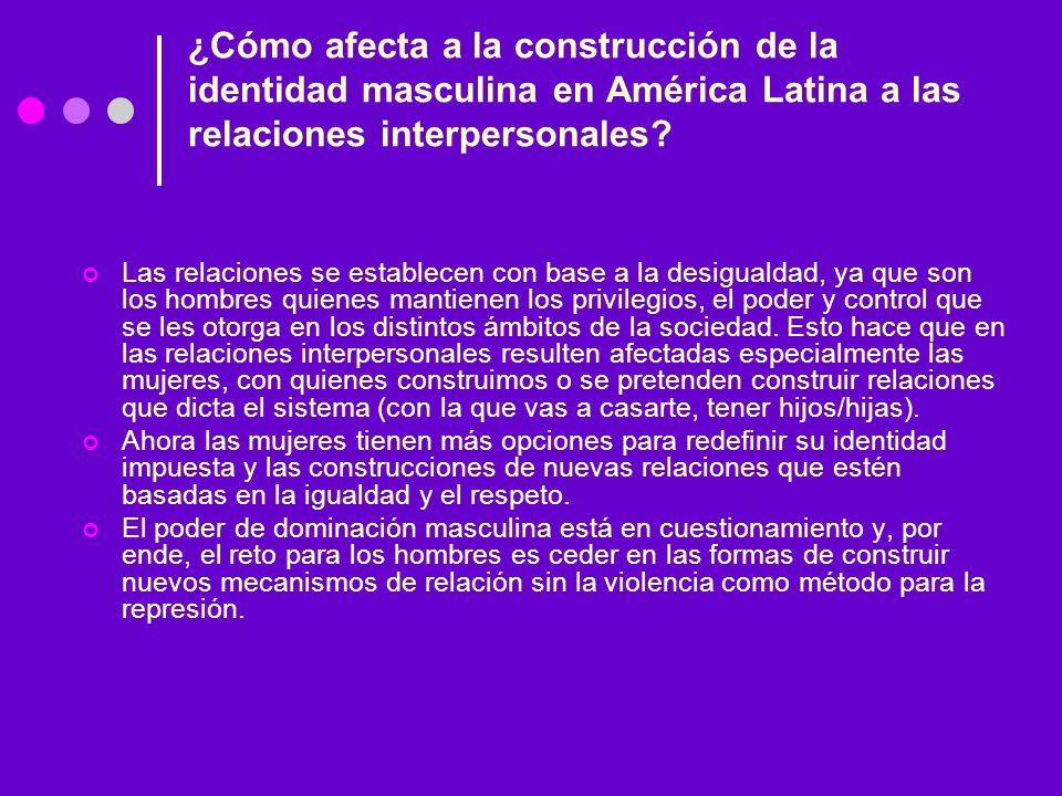 ¿Cómo afecta a la construcción de la identidad masculina en América Latina a las relaciones interpersonales