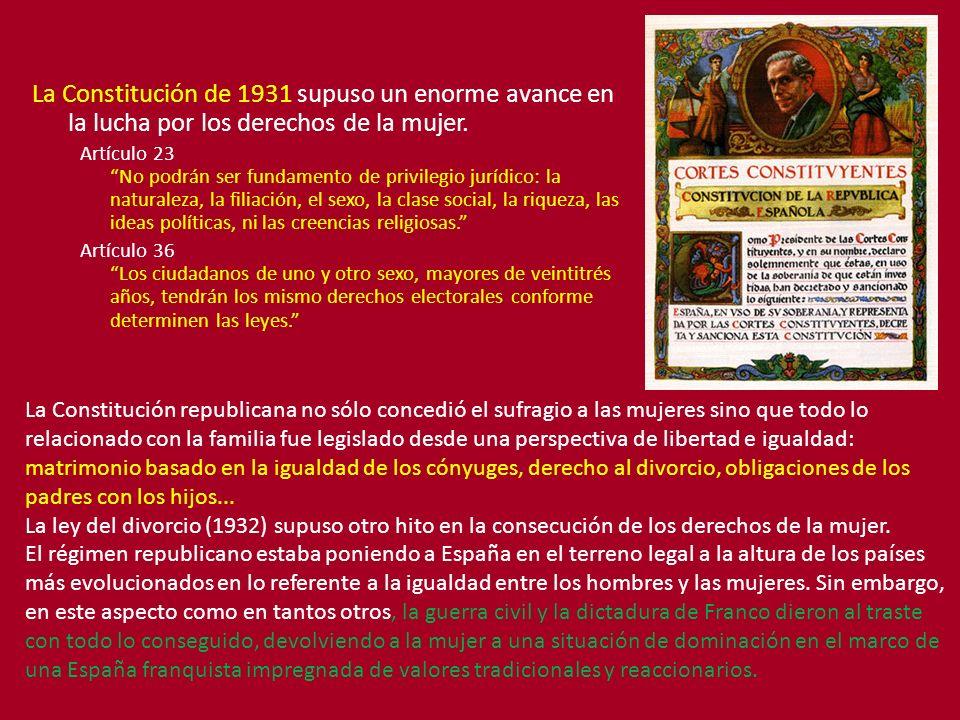 La Constitución de 1931 supuso un enorme avance en la lucha por los derechos de la mujer.