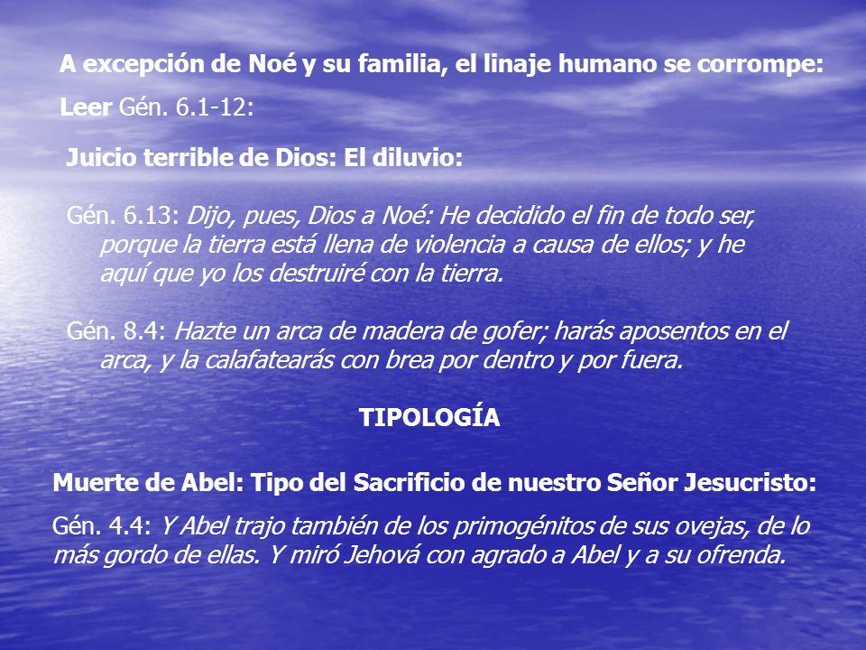 A excepción de Noé y su familia, el linaje humano se corrompe: