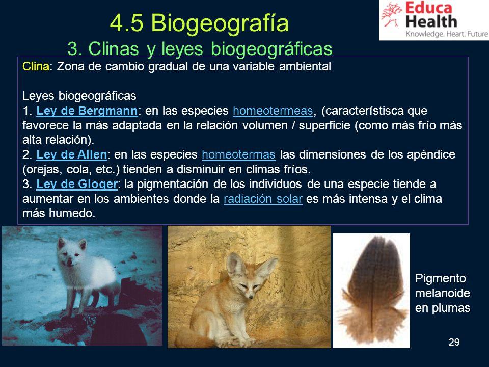 4.5 Biogeografía 3. Clinas y leyes biogeográficas