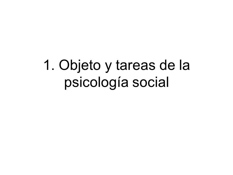1. Objeto y tareas de la psicología social