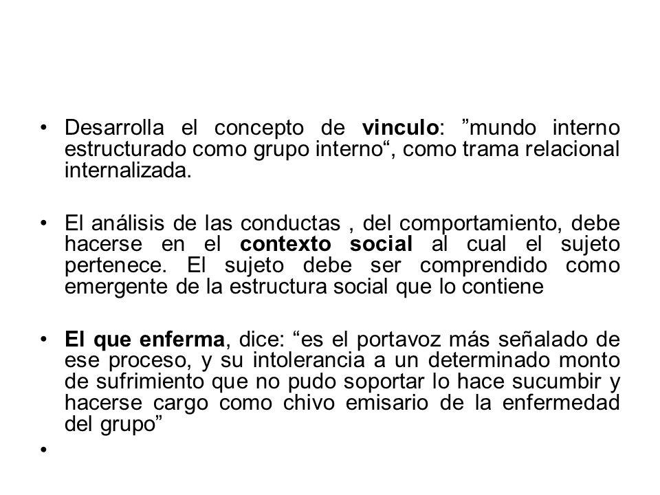 Desarrolla el concepto de vinculo: mundo interno estructurado como grupo interno , como trama relacional internalizada.