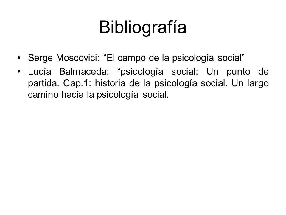 Bibliografía Serge Moscovici: El campo de la psicología social
