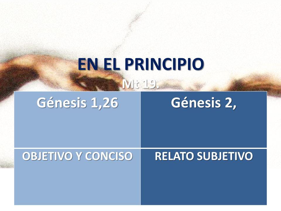 EN EL PRINCIPIO Mt 19. Génesis 1,26 Génesis 2, OBJETIVO Y CONCISO