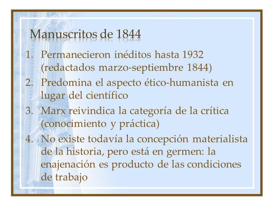 Manuscritos de 1844 Permanecieron inéditos hasta 1932 (redactados marzo-septiembre 1844)