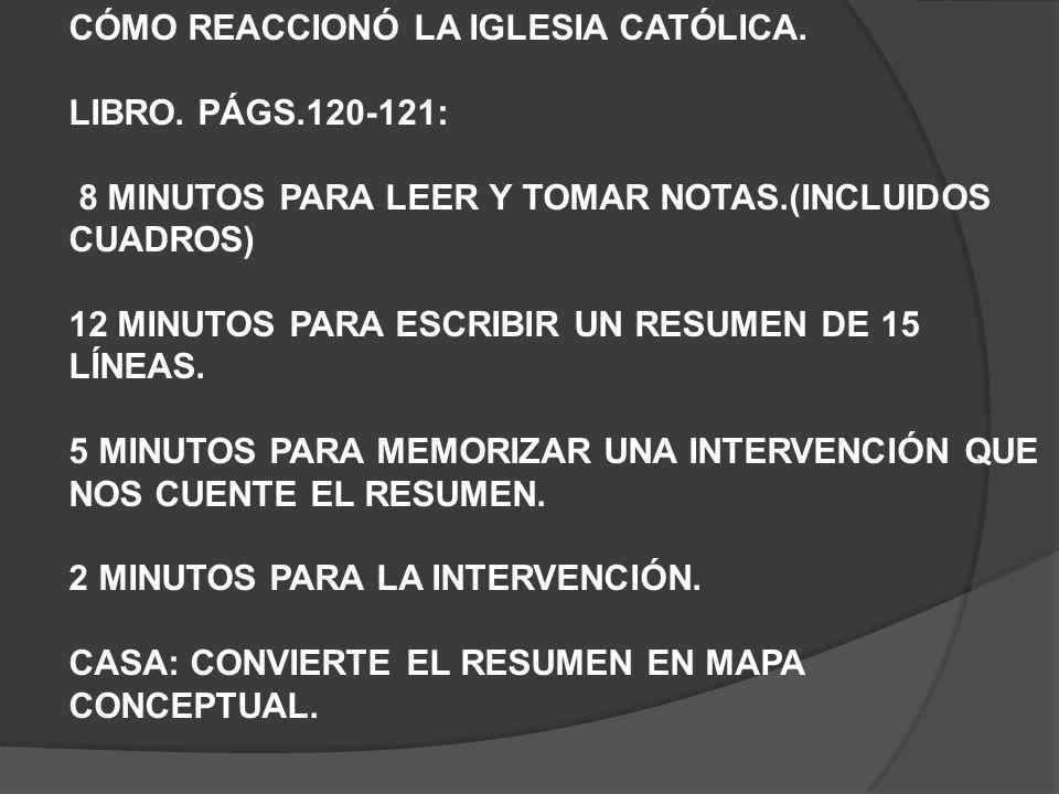 CÓMO REACCIONÓ LA IGLESIA CATÓLICA.