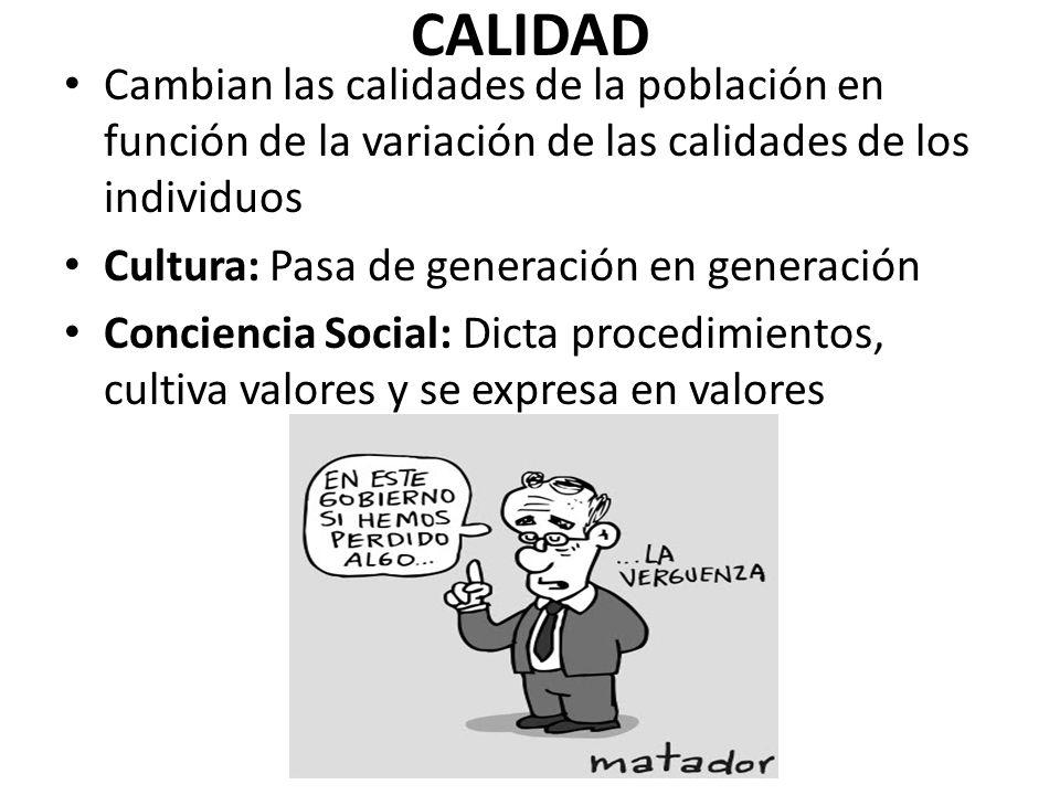 CALIDAD Cambian las calidades de la población en función de la variación de las calidades de los individuos.