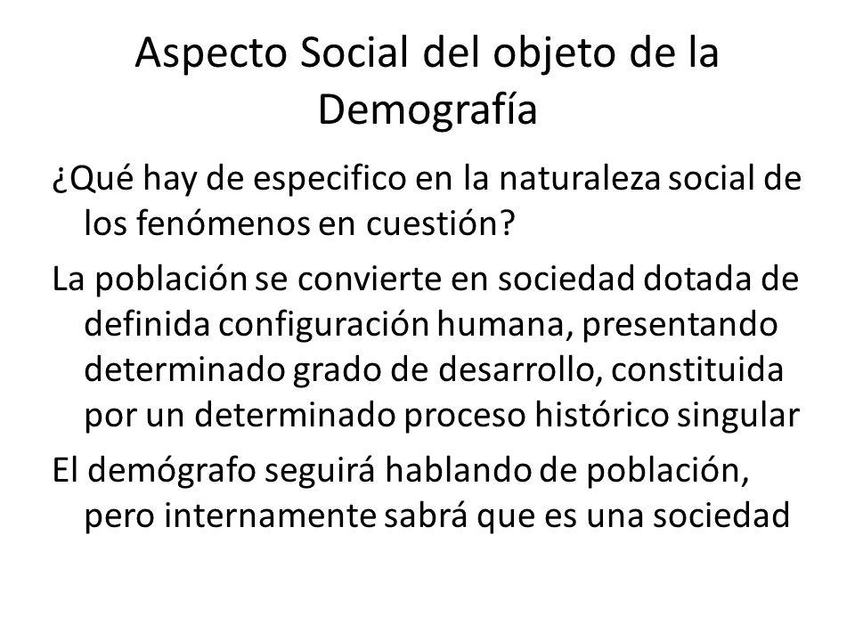 Aspecto Social del objeto de la Demografía