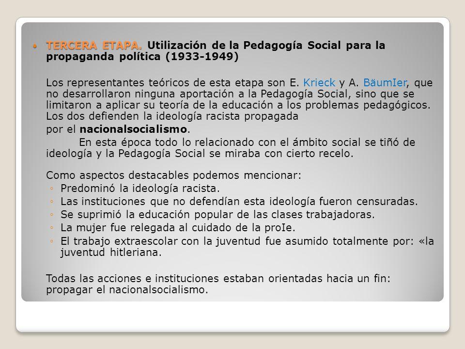 TERCERA ETAPA. Utilización de la Pedagogía Social para la propaganda política (1933-1949)