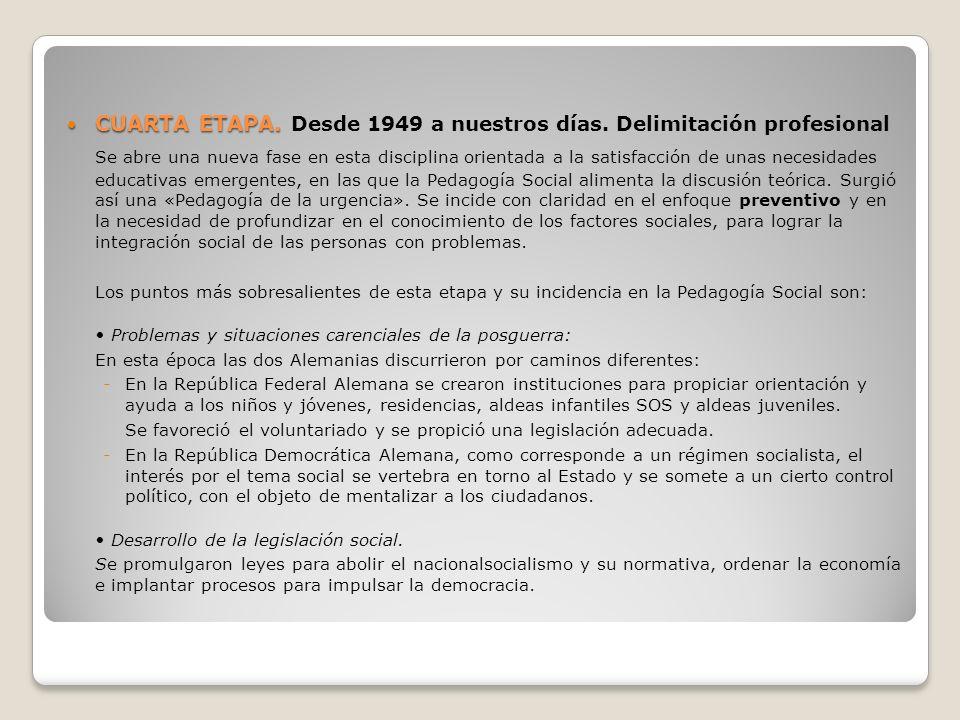 CUARTA ETAPA. Desde 1949 a nuestros días. Delimitación profesional
