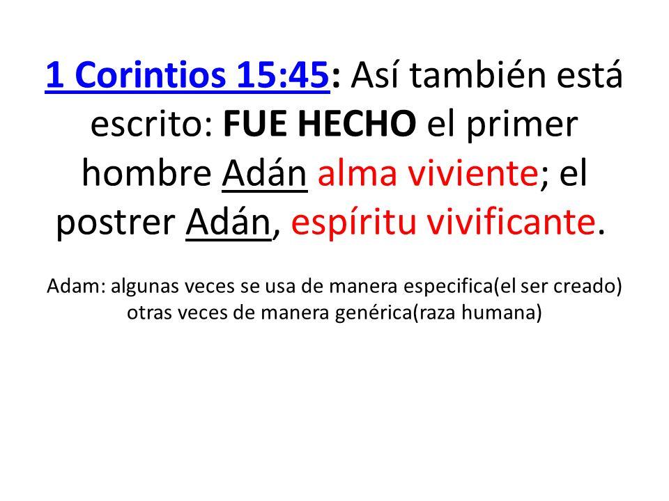 1 Corintios 15:45: Así también está escrito: FUE HECHO el primer hombre Adán alma viviente; el postrer Adán, espíritu vivificante. Adam: algunas veces se usa de manera especifica(el ser creado) otras veces de manera genérica(raza humana)