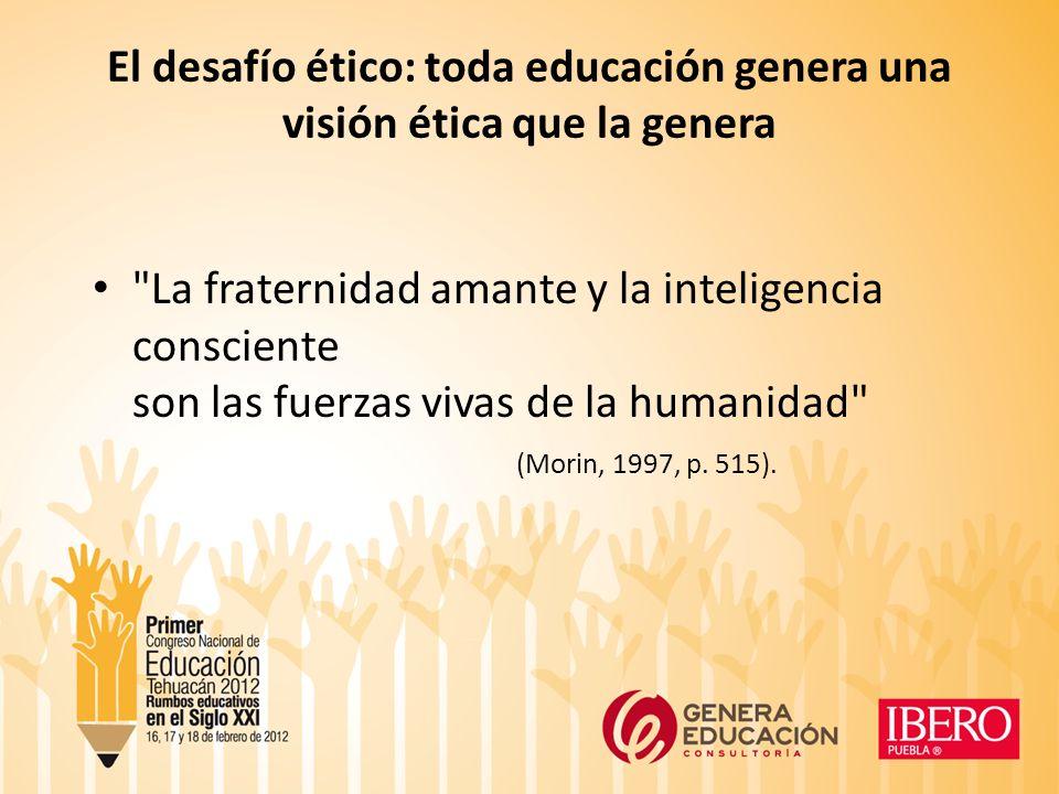 El desafío ético: toda educación genera una visión ética que la genera