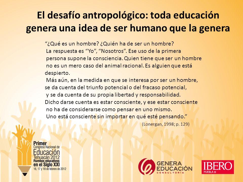 El desafío antropológico: toda educación genera una idea de ser humano que la genera