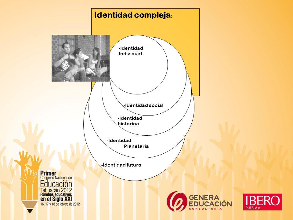Identidad compleja: -Identidad Individual. -Identidad social histórica