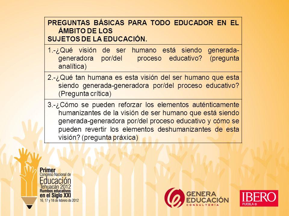 PREGUNTAS BÁSICAS PARA TODO EDUCADOR EN EL ÁMBITO DE LOS