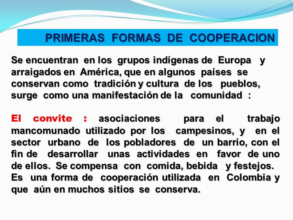 PRIMERAS FORMAS DE COOPERACION