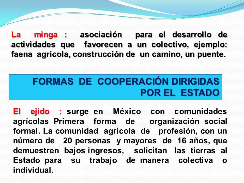 FORMAS DE COOPERACIÓN DIRIGIDAS POR EL ESTADO