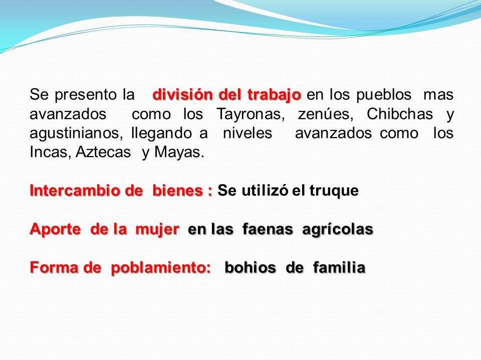 Se presento la división del trabajo en los pueblos mas avanzados como los Tayronas, zenúes, Chibchas y agustinianos, llegando a niveles avanzados como los Incas, Aztecas y Mayas.
