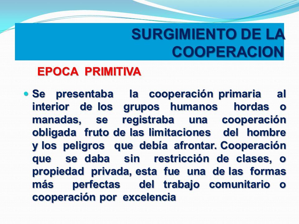 SURGIMIENTO DE LA COOPERACION