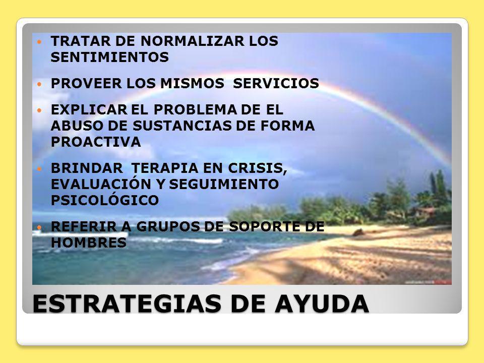 ESTRATEGIAS DE AYUDA TRATAR DE NORMALIZAR LOS SENTIMIENTOS