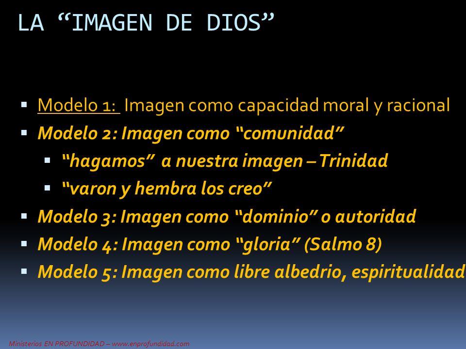LA IMAGEN DE DIOS Modelo 1: Imagen como capacidad moral y racional