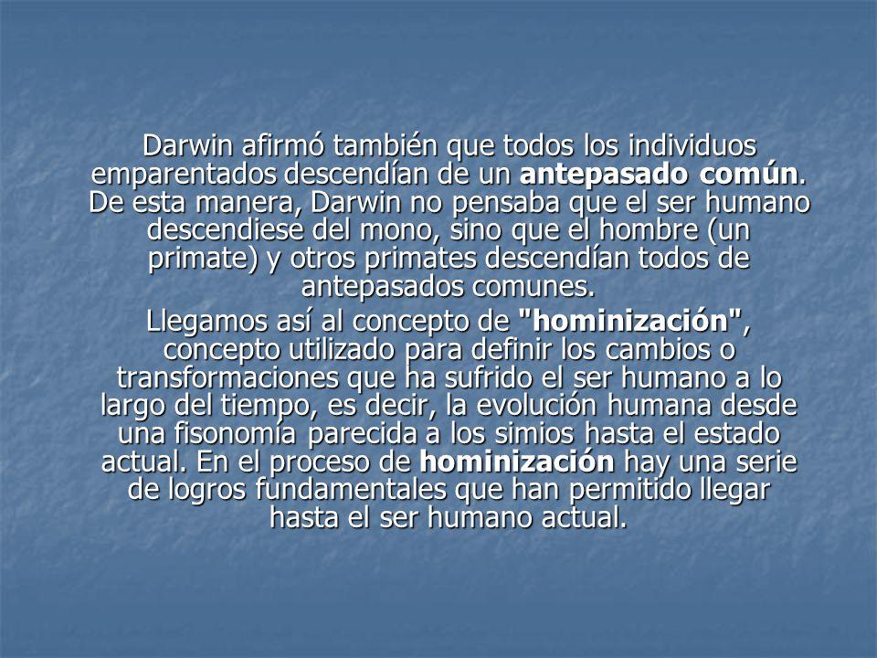 Darwin afirmó también que todos los individuos emparentados descendían de un antepasado común. De esta manera, Darwin no pensaba que el ser humano descendiese del mono, sino que el hombre (un primate) y otros primates descendían todos de antepasados comunes.