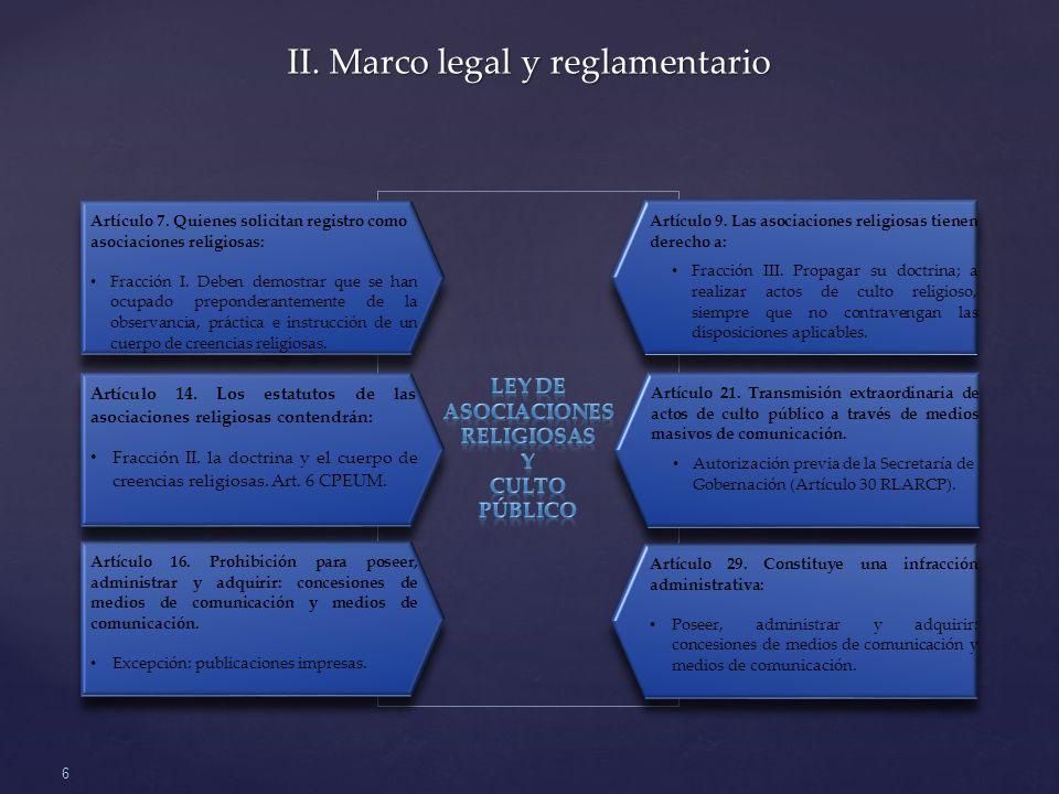 II. Marco legal y reglamentario
