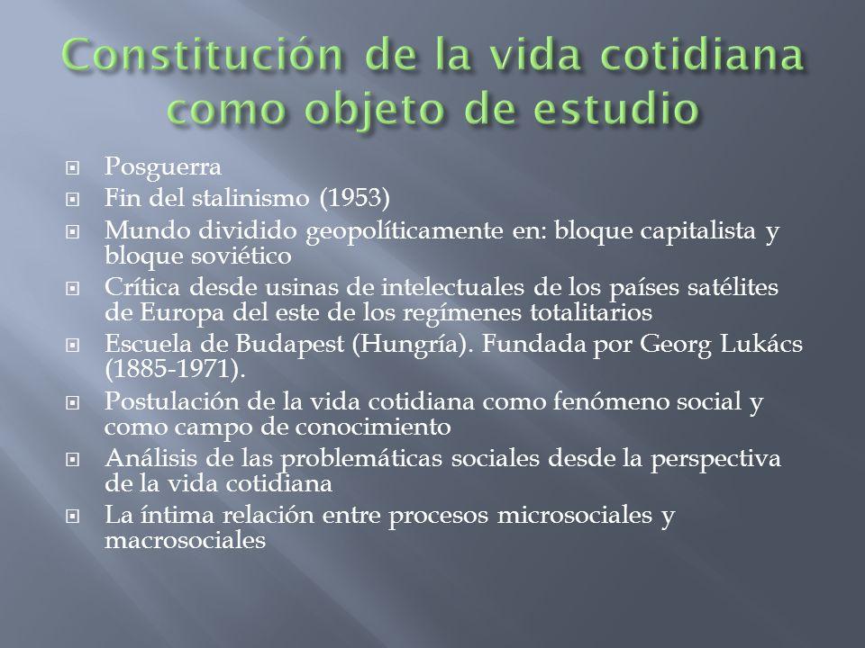 Constitución de la vida cotidiana como objeto de estudio