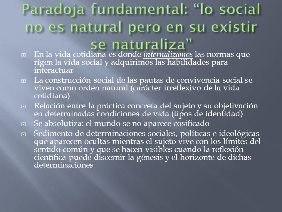 Paradoja fundamental: lo social no es natural pero en su existir se naturaliza