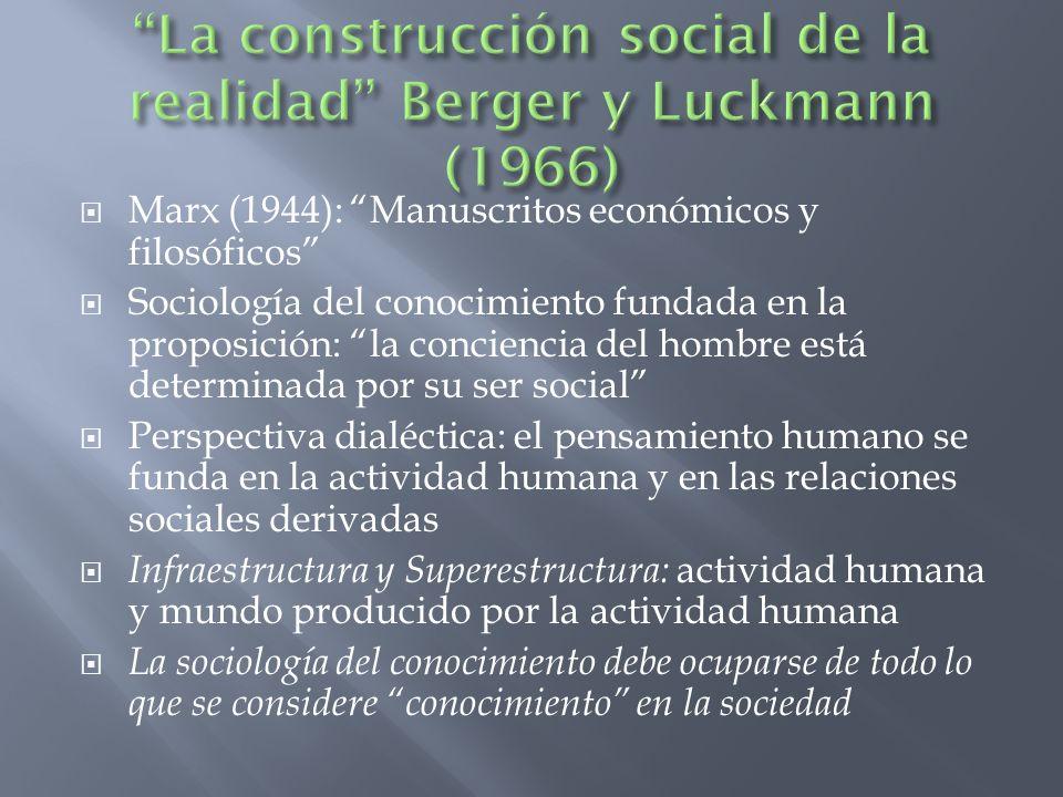 La construcción social de la realidad Berger y Luckmann (1966)