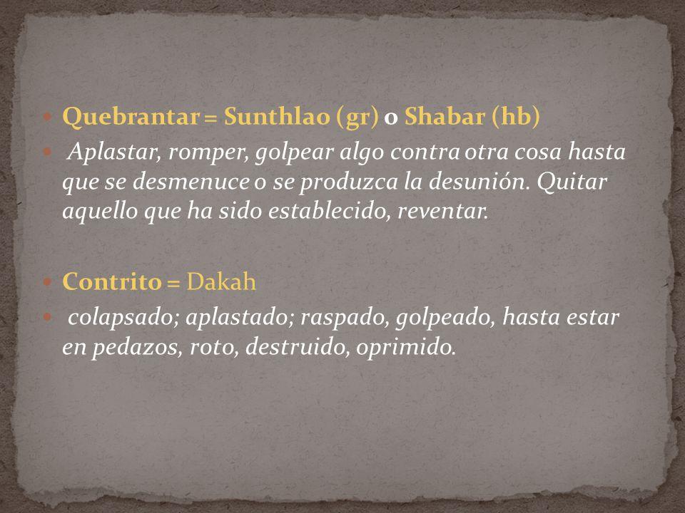 Quebrantar = Sunthlao (gr) o Shabar (hb)