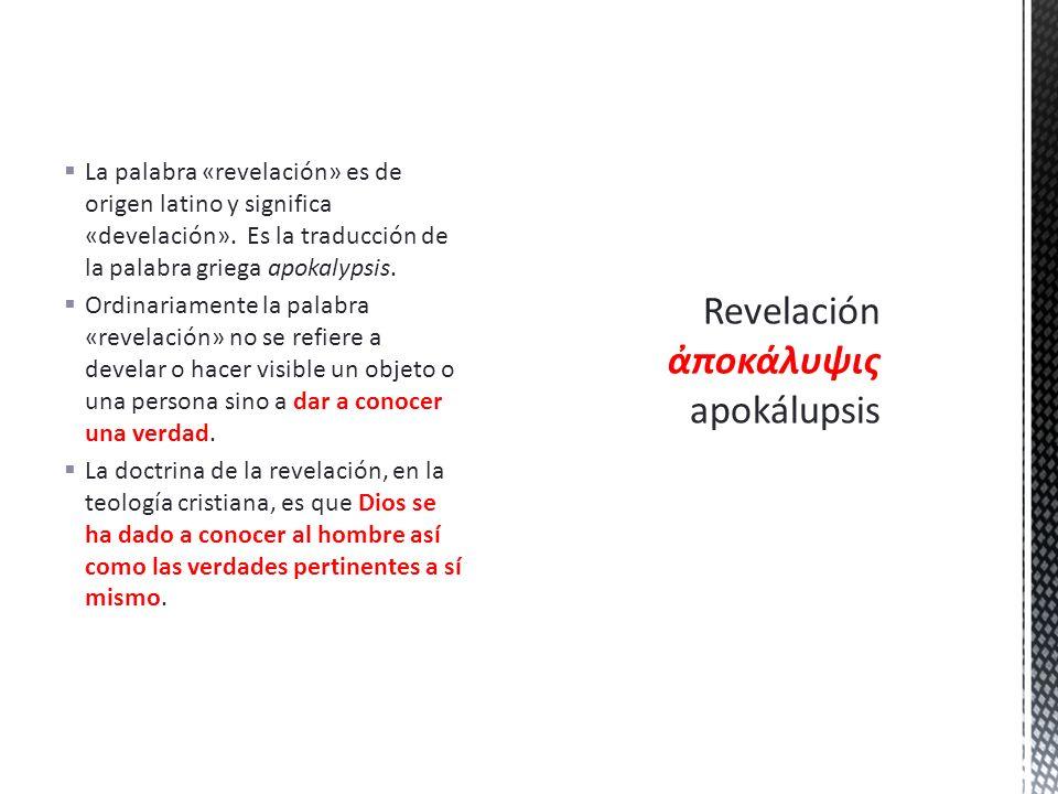 Revelación ἀποκάλυψις apokálupsis
