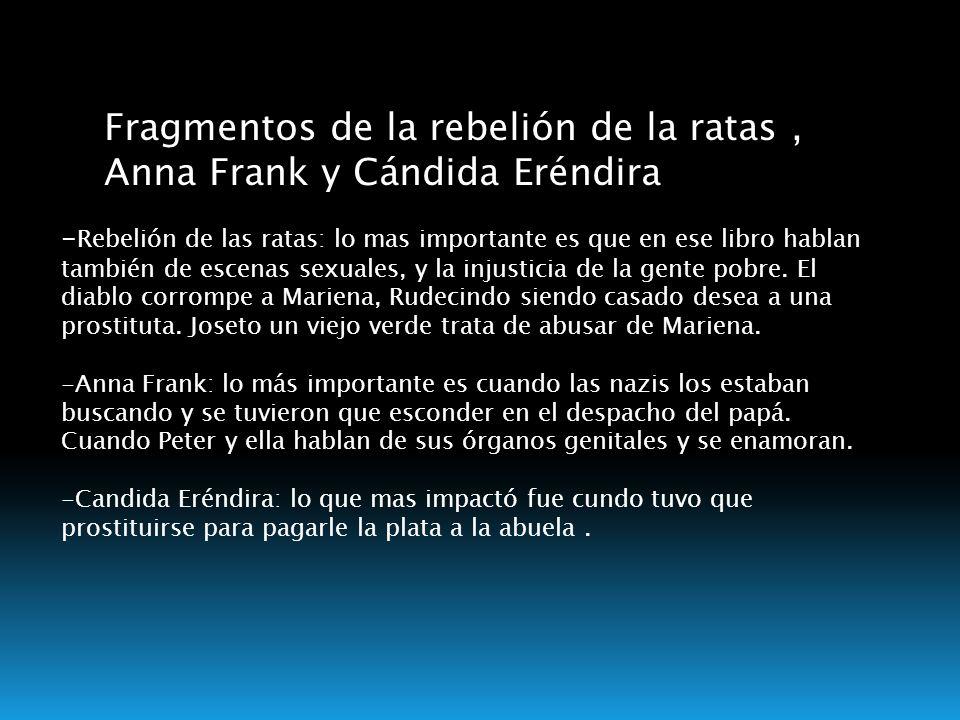 Fragmentos de la rebelión de la ratas , Anna Frank y Cándida Eréndira