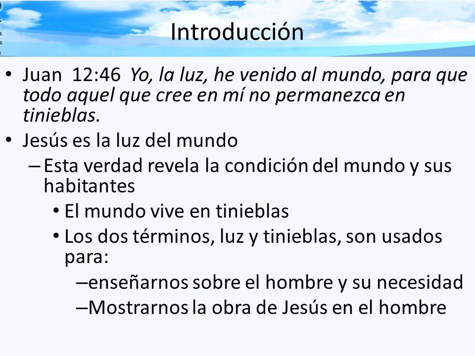 Introducción Juan 12:46 Yo, la luz, he venido al mundo, para que todo aquel que cree en mí no permanezca en tinieblas.