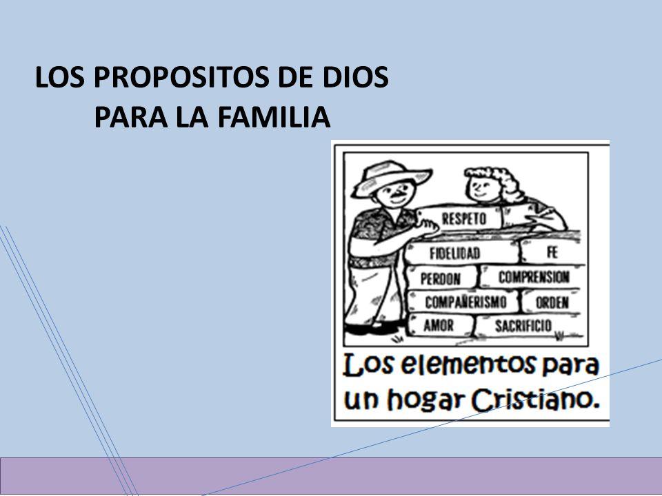 LOS PROPOSITOS DE DIOS PARA LA FAMILIA
