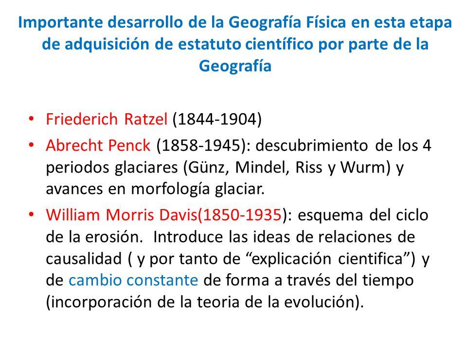 Importante desarrollo de la Geografía Física en esta etapa de adquisición de estatuto científico por parte de la Geografía