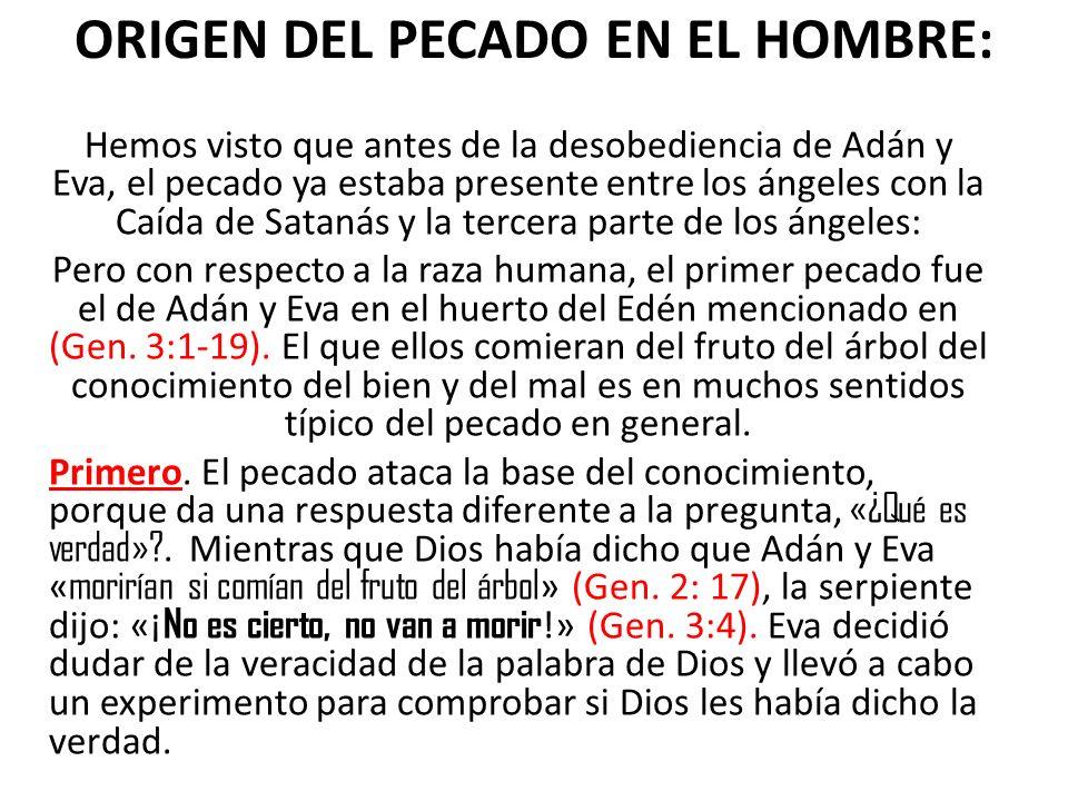 ORIGEN DEL PECADO EN EL HOMBRE: