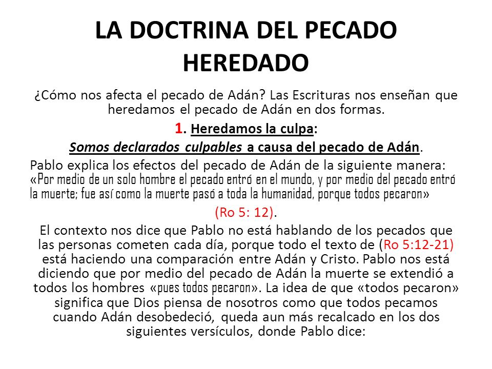 LA DOCTRINA DEL PECADO HEREDADO