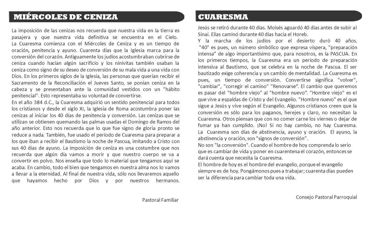 MIÉRCOLES DE CENIZA CUARESMA