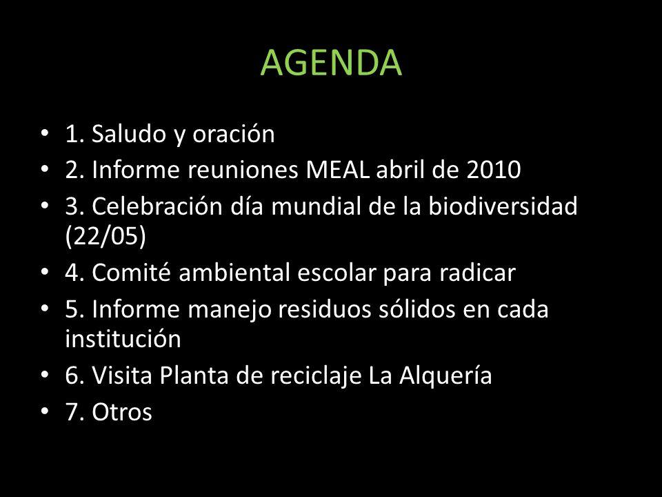 AGENDA 1. Saludo y oración 2. Informe reuniones MEAL abril de 2010