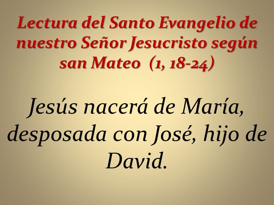 Jesús nacerá de María, desposada con José, hijo de David.